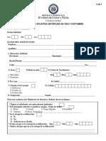 Formulario Certificacion de Vida y Costumbre