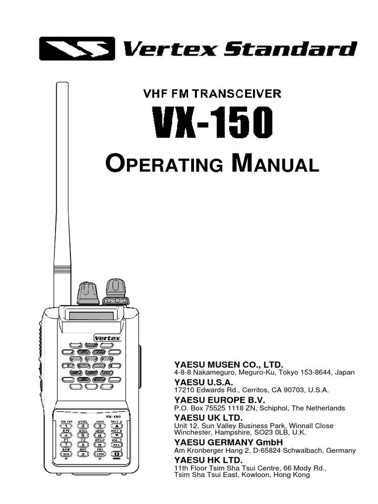 yaesu vx 150 operating manual battery charger broadcast engineering rh scribd com