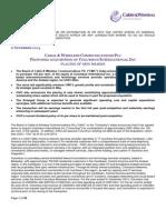 CWC - Columbus Transaction Announcement 6 November 2014 (1)
