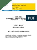 FINS5513 S2 2013 Course Outline