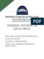 Emergency Response in Social Media