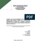 plan de mantenimiento para los equipos de una planta de revestimiento de tuberias
