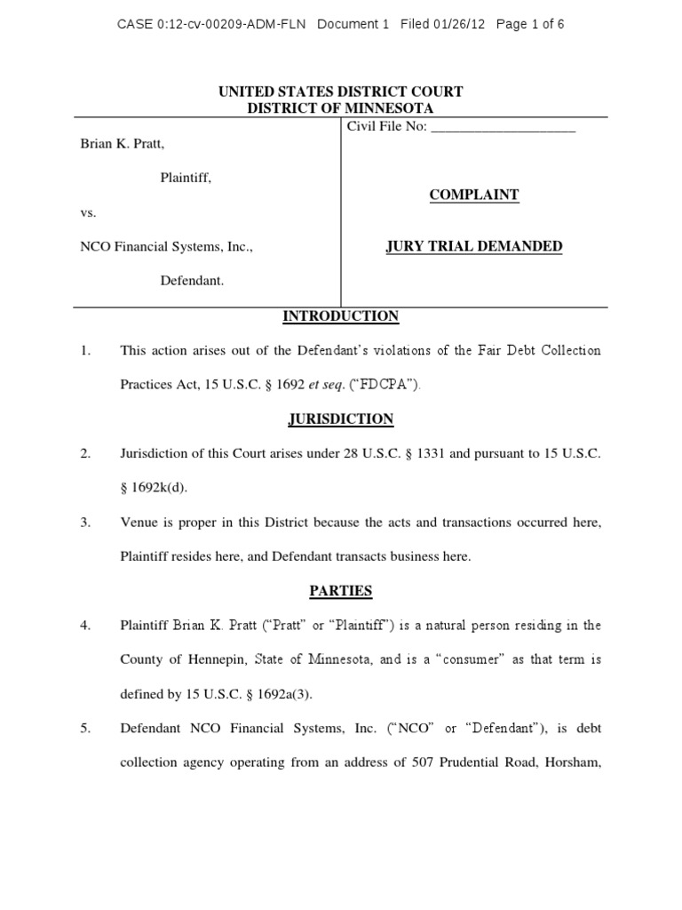 Pratt V Nco Financial Systems Fdcpa Complaint Minnesota Complaint
