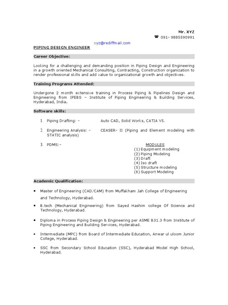 Sample Piping Design Engineer Resume | Pipe (Fluid Conveyance) | Engineering  Cad Designer Resume