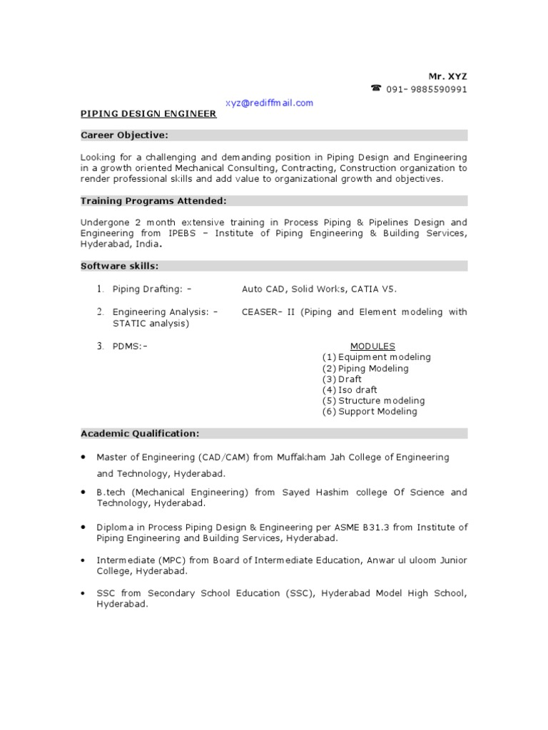 Sample Piping Design Engineer Resume | Pipe (Fluid Conveyance