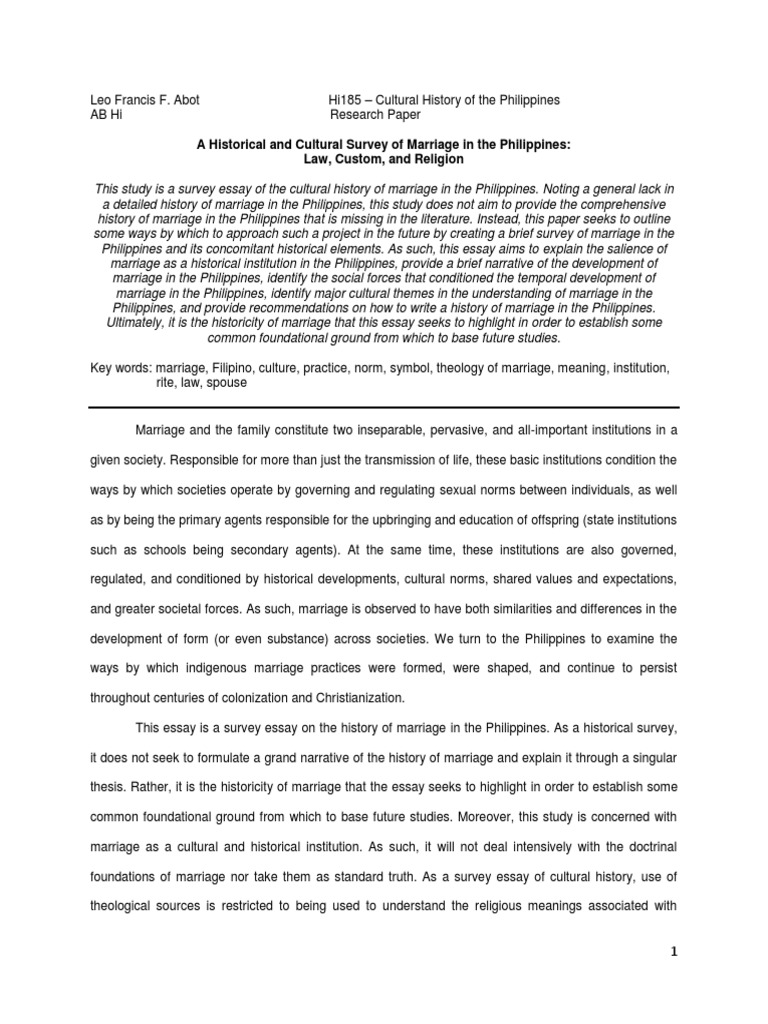marriage history essay