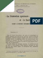 """La """"Génération Spontanée"""" Et """"Le Darwinisme""""-1903"""