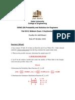 [Fall 2012] Exam #1 probability exam
