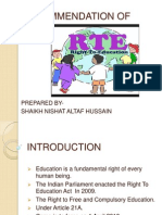 Recommendation of Rte Act