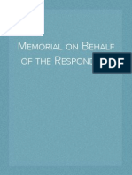 Memorial on Behalf of the Respondent