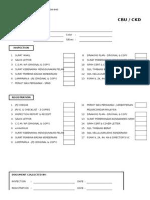 Checklist Inspection Reg Motor Vehicle Car Free 30 Day