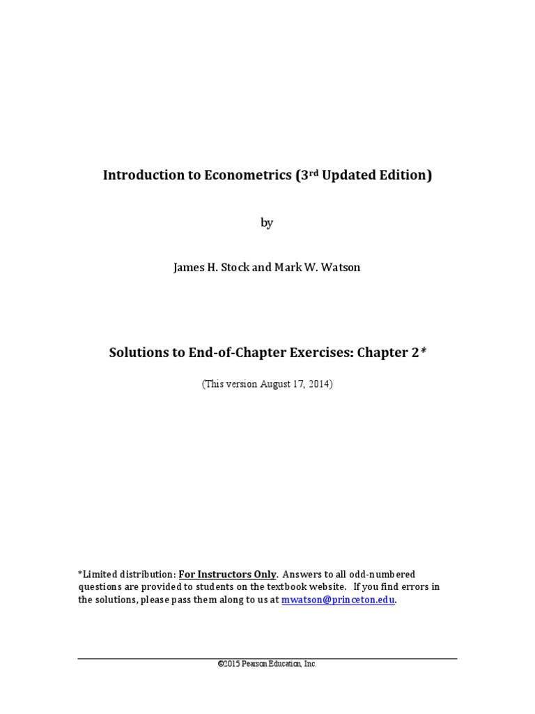 Stock Watson 3U ExerciseSolutions Chapter2 Instructors | Skewness |  Correlation And Dependence