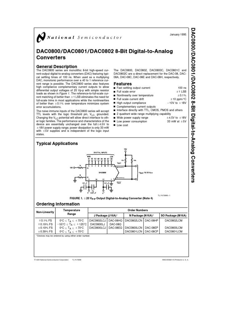 DAC0800 DAC0801 DAC0802 8-Bit Digital-To-Analog Converters | Digital To  Analog Converter | Electronic Circuits