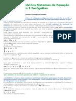 Exercícios Resolvidos Sistemas de Equação Do 1º GRAU