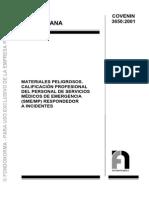 3650-2001 Clasificacion de Servicio Medico Sustancias Peligrosas