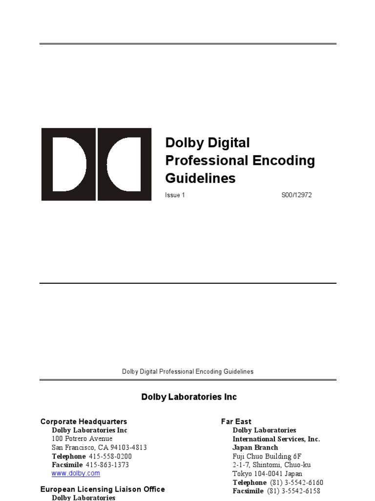dolby digital professional encoding guidelines digital television rh scribd com