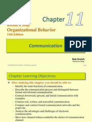Robbins Organization Behaviour Chapter 11 | Nonverbal Communication