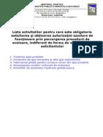 0 - Lista Activitatilor Pentru Care Este Obligatorie Autorizarea Sanitara