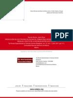 PRODUCCIÓN DE ELECTRICIDAD EN CELDAS DE COMBUSTIBLE MICROBIANAS UTILIZANDO AGUA RESIDUAL_EFECTO DE LA DISTANCIA ENTRE ELECTRODOS_2011