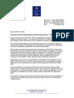 27001 Transition CAB Letter