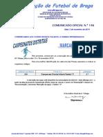 CO N.º 146 FUTEBOL 11_CAMPEONATO DISTRITAL DE INFANTIS_MARCAÇÃO DE JOGOS PARA 15 e 16 NOVEMBRO 2014