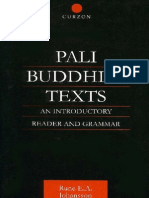Pali Buddhist Texts - Johansson