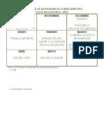 Calendario de Actividades de La Mesa Directiva