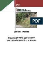 INFORME GEOTECNICO TALUD PR6+400 SURATA - CALIFORNIA - UIS