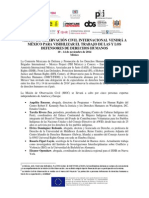 MISIÓN DE OBSERVACIÓN CIVIL INTERNACIONAL VENDRÁ A MÉXICO PARA VISIBILIZAR EL TRABAJO DE LAS Y LOS DEFENSORES DE DERECHOS HUMANOS