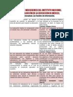 El Sistema de Indicadores Del Instituto Nacional Para La Evaluación de La Educación de México