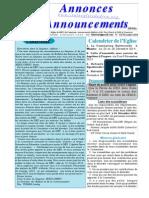 Bulletin Annonces Novembre 2014