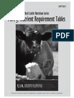 Tabla de Requerimeinto de Nutrients Vacunos de Carne