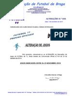 Comunicado Alterações n.º 46 Futebol 11_alteração de Jogos Marcados Entre 7 e 9 Novembro 2014