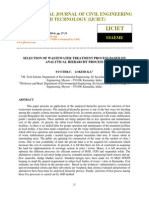 Selection of Wastewater Treatment Process Based on Analytical Hierarchy Process