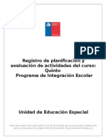 Formato Registro de Planificación QUINTO PEI 2014