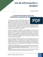 NIA 3 - LA GESTIÓN DESCENTRALIZADA DEL PRESUPUESTO ANÁLISIS DEL GR DE CUSCO articulo de Epifanio Baca