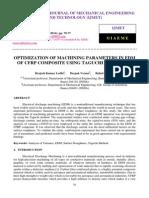 Optimization of Machining Parameters in Edm of Cfrp Composite Using Taguchi Technique