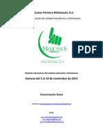 Noticias del sistema educativo michoacano al 10 de noviembre de 2014