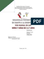Desarrollo Psicomotor en Cuanto a La Escritura Uso Manual en Los Niños y Niñas de 3 a 7 Años