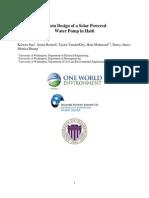 Solar Powered Water Pump Report