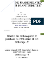 Stocks and Share Related Questions in Aptitude Test