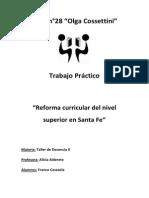 Reforma Curricular en el nivel superior en Santa Fe, Argentina