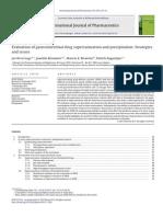 Bevernage, IJP, 2013, Evaluation of Gastric Drug Supersaturation and Precipitation