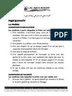 Conditions d'Oblogation Et de Validité - La Priere