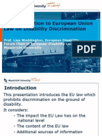 An Introduction to European Union  Law on Disability Discrimination.