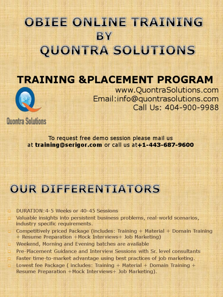 OBIEE Training PPT by Quontrasolutions | Oracle Database