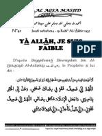 YÀ ALLÂH, JE SUIS FAIBLE
