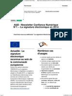 A&B - Newsletter Confiance Numérique - N°1 _ La signature électronique en 2014