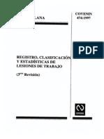 474-97-Registro, Clasificacion y Estadisticas de Lesiones de Trabajo