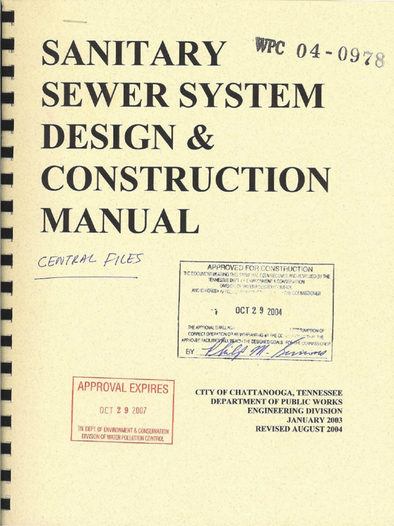 sanitary sewer system design and construction manual